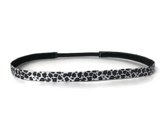 Skinny Headband. Non-Slip Headband. Best Headband. Yoga Headband. Workout headband. Fitness Headband. Gifts for Her. White Leopard Print.