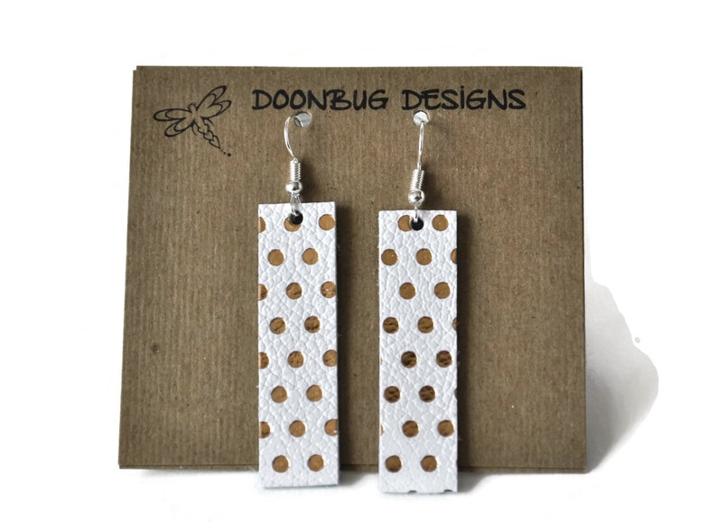 Genuine leather earrings leather bar earrings lightweight image 0
