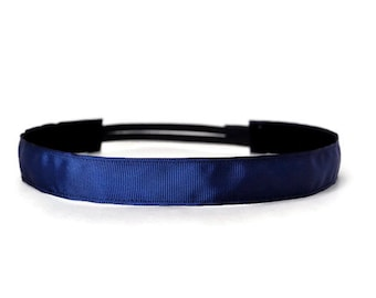 Non-slip headband. Running headband.  Workout headband.  2 Sizes available.  No Nonsense Navy. 1 inch wide