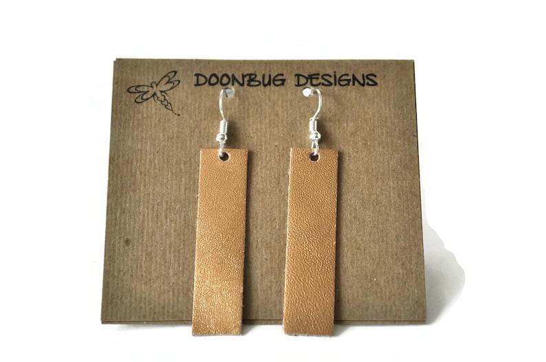 Genuine leather earrings leather bar earrings lightweight image 0