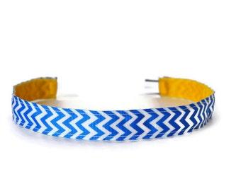 Women's Running Headband. Non-Slip Headband. Workout headband. Yoga Headband. Fitness Headband. Best Headband. Blue and White Chevron.