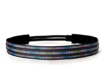 Women's Running Headband. Non-Slip Headband. Workout headband. Yoga Headband. Fitness Headband. Best Headband. Black Mod Arrows