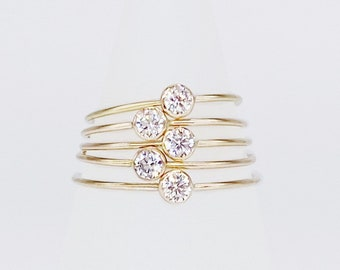 3mm Ethical Solitaire | 14kt Gold Filled Stackable Micro CZ Ring | Stacking, Engagement, Intention, Promise Ring | Hypoallergenic + Ethical