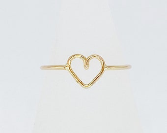 Perfect Heart Ring | 14kt Gold Filled Ring | Overlapped Heart Shaped Ring | Handmade Gift for Her | Hypoallergenic | Minimalist | Ethical
