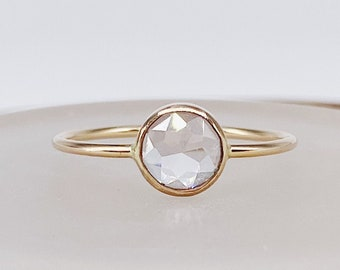 Le Bouton Ring | 14kt Gold Filled Le Bouton Cut 6mm CZ | Handmade, Tarnish Resistant, Nickel Free, Hypoallergenic. Minimalist, Ethical