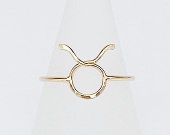 Taurus Ring | 14kt Gold Filled Zodiac Ring | Hammered and Dainty | April / May Birthday Ring | Minimalist | Hypoallergenic | Ethical