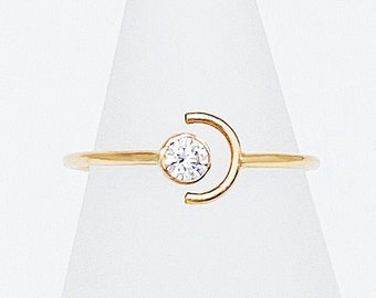 Luna Sol Ring | 14kt Gold Filled Gemstone + Crescent Ring | 3mm Clear CZ Gap Ring | Sun + Moon Statement Ring | Hypoallergenic + Ethical