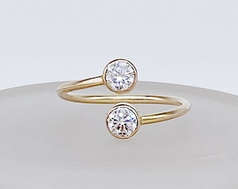 Gemini Ring | 14kt Gold Filled Double Gemstone | 4mm Clear CZ Overlap Bypass Gap Ring | Twin Cubic Zirconia Ring | Hypoallergenic + Ethical
