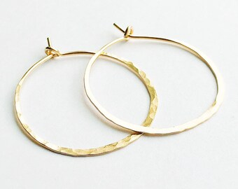9978a4e9b4f Inch Hoops | 14kt Gold Filled Hoop Earrings | Hammered Round Earrings |  Classy Hoops | Minimalist Hoops | Hypoallergenic, Handmade, Ethical