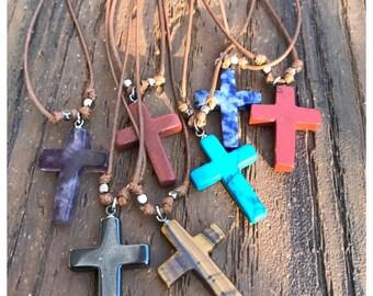 Gemstone Cross Necklace/ Chakra Necklace