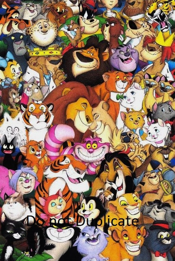 Disney Cats Montage 11 X 17 Colored Pencil Drawing Print Etsy
