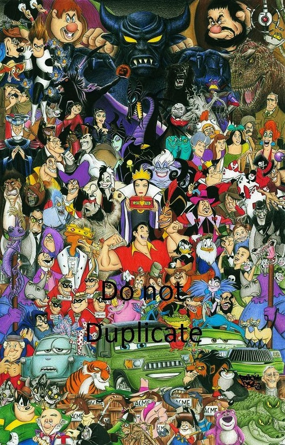 Cool Ultimate Disney Villain Montage 11 X 17 Colored Pencil Drawing Print Home Interior And Landscaping Eliaenasavecom