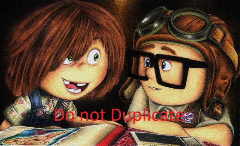 Young Carl and Ellie 11x 17 colored pencil drawing print ...Young Carl And Ellie Disneybound