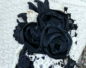 BLACK & CREAM-Upcycled Fabric Flower Pin/Brooch