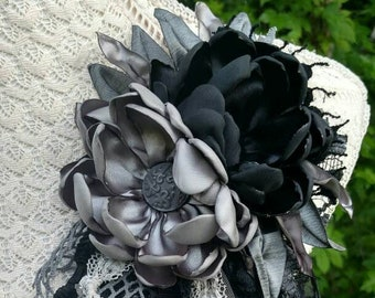 GRAY SHADOWS-Upcycled Fabric Flower Pin/Brooch