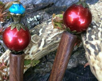 SALE!!! Ruby & Turquoise Decorative Hairsticks