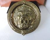 Large Brass Lion Head Door Knocker Vintage Golden Cat Front Door Decor Set Prop GreenTreeBoutique