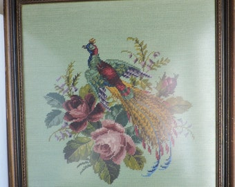 Pheasant Under Glass Etsy Decorative panel, painting under glass, decorated with a pheasant in a golden cartouche, with flowers on the side parts. etsy
