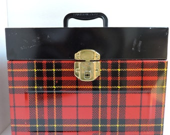 Vintage Skotch Red Plaid File Box | Metal Office Organizer | Locking File Container with Handle | GreenTreeBoutique