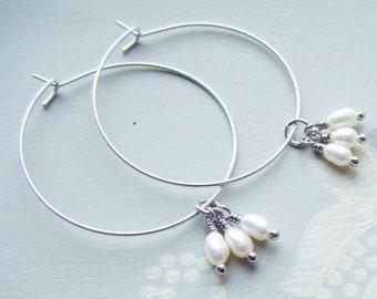 Silver hoop earrings , Silver hoop and pearl earrings , fresh water pearl hoops , pearl hoop earrings , silver hoops uk