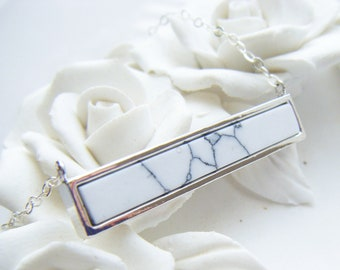 Silver bar pendant , bar necklace , marble pendant , layered necklace , silver layer pendant , white stone pendant, simple pendant uk seller