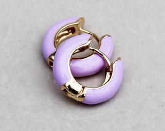 b4dd4016ecf3 Tiny lilac enamel hoops