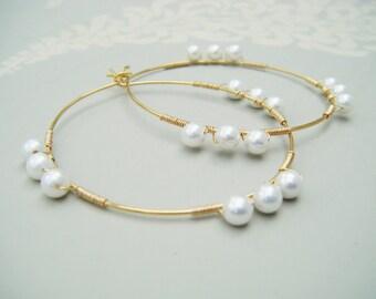 Gold hoop earrings , pearl hoop earring , pearl earrings , fresh water pearl hoops , ivory pearl , pearl hoops , uk seller