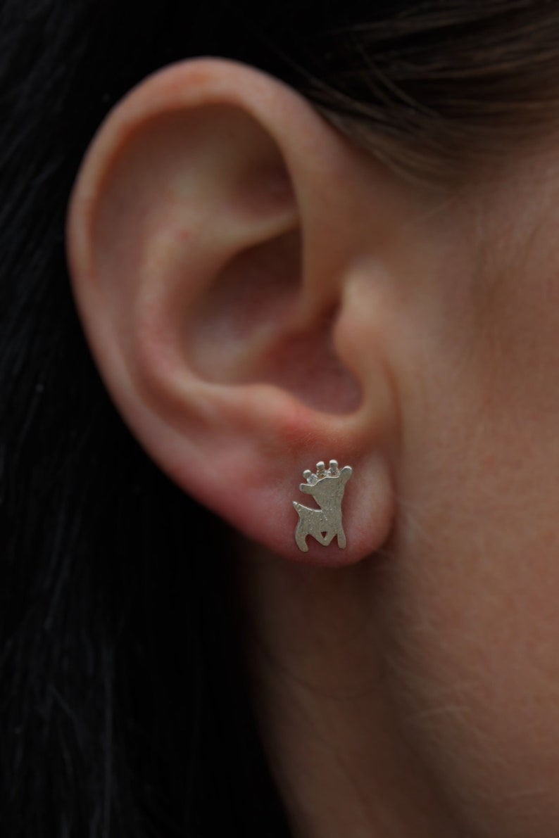 tiny silver studs small bambi Silver bambi studs tiny novelty studs gift for her best friend gift uk seller tiny bambi earrings