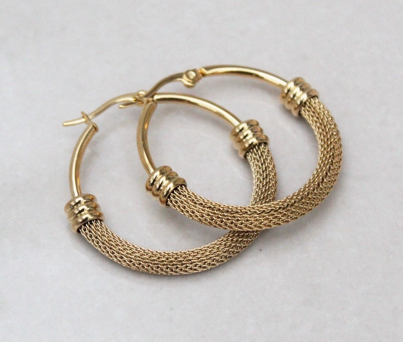 eefa842e1cdf91 Gold hoop earrings gold mesh hoops silver mesh earrings | Etsy