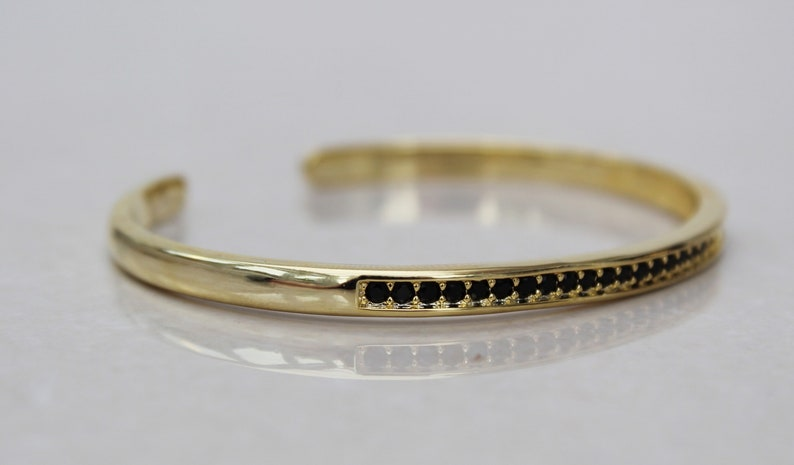 uk stacking bangle Gold cz bangle cz bracelet gold bracelet black stone bangle black cubic zirconia bangle dainty gold bangle