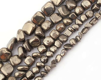 6.5 mm gemstone beads strand for chain /& more Pyrite faceted nuggets approx