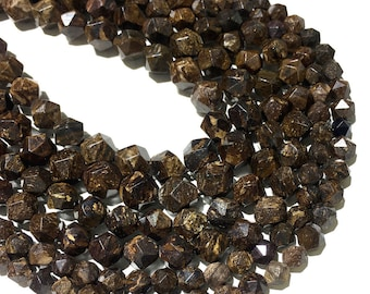 Bronzite Faceted Beads Natural Gemstone Beads Nugget Stone Beads For Jewelry Making 6mm 8mm 10mm 15/'/'