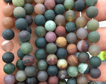 8mm Natural Indian Agate Beads, Red Green Agate Gemstone Beads, Matte Beads, Round Stone Beads, Loose Beads Wholesale 15''