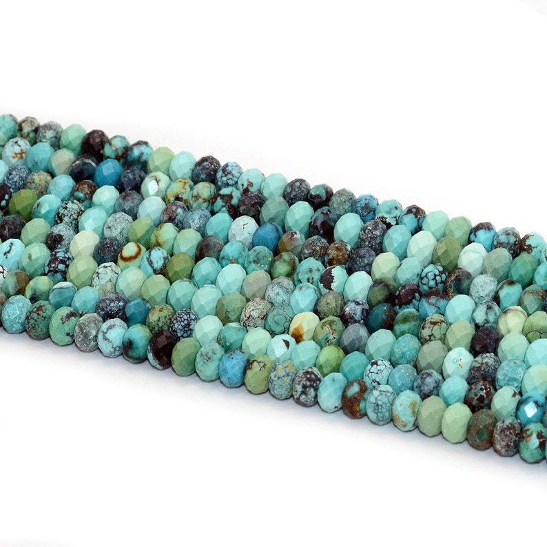 Natural Gemstone Beads 2x4mm Turquoise Beads Rondelle Faceted Beads 15/'/' HuBei Turquoise Stone Beads