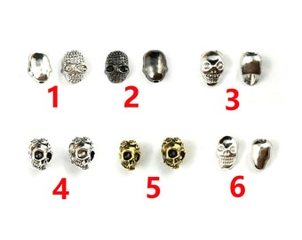 10 pcs Skull Beads Charm Spacer Beads Copper Metal Beads For Jewelry Making Jewelry Finding Spacer Beads