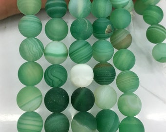 8mm Matte Beads, Natural Green Striped Agate Matte Beads, Loose Gemstone Beads, Round Stone Beads 15''
