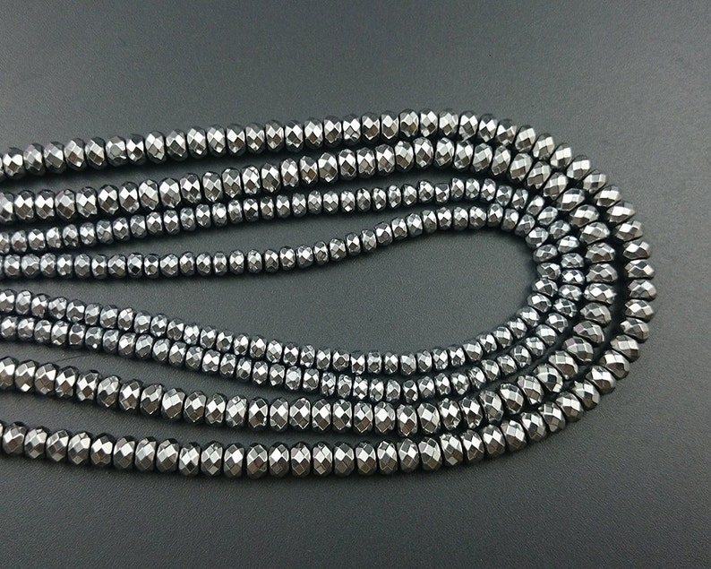 Hematite Beads Loose Semi Precious Stone Beads 2x4mm 3x4mm 4x6mm Rondelle Faceted Beads Natural Silver Hematite Gemstone Beads