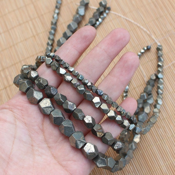 8MM HEMATITE GEMSTONE PYRITE TONE FACETED ROUND 8MM LOOSE BEADS 16/""