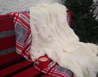 large super chunky cable knit blanket - chunky knit blanket - chunky knit throw - super chunky knitted throw with cable - afghan blanket