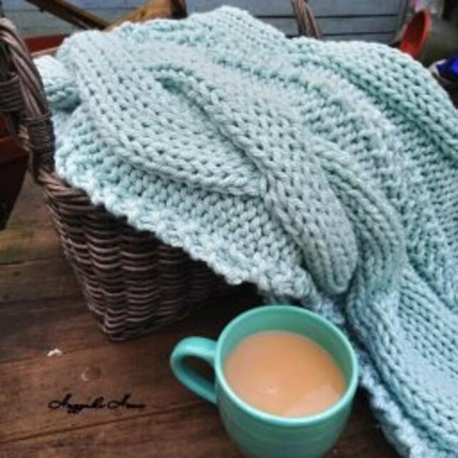 Cable Blanket Pattern Super Chunky Pattern Knitting Pattern Etsy