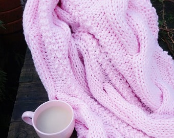 superchunky cable knit blanket - chunky knit blanket - chunky knit throw - super chunky knitted throw with cable - pink - afghan blanket