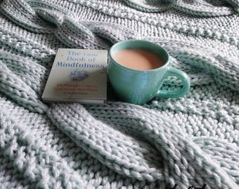 superchunky cable knit blanket - chunky knit blanket - chunky knit throw - super chunky knitted throw with cable - duck egg - afghan blanket