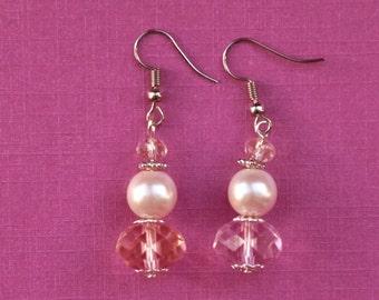 Pink Crystal Earrings, rose pink earrings, bridal earrings, pink pearl earrings, pink bridal jewellery, crystal bridal jewelry, gift wife