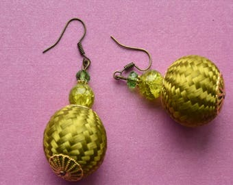 One of a kind earrings, unique handmade earrings, woven earrings, lime green earrings, handmade earrings, statement green earrings, gift