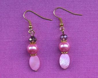 Pink shell earrings, pink pearl earrings, pink crystal earrings, baby pink earrings, pale pink earrings, pink bridesmaid jewellery, everyday