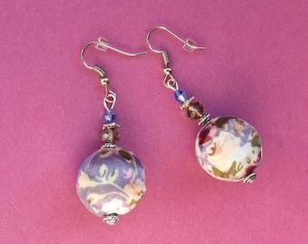 Fabric earrings, handmade earrings, fabric jewelry, fabric jewellery, lilac earrings, purple earrings, bridesmaid earrings, lilac wedding
