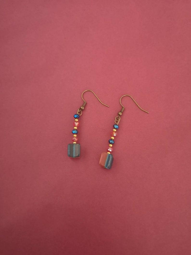 small earrings simple jewellery contrast earring Red and blue drop earrings simple jewelry square drop earrings mixed crystal earrings