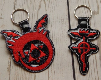 Anime Alchemist and Homunculus Key Fobs Key Ring Accessories