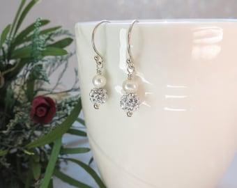 Freshwater Pearl Earrings, Pave Crystal Earrings, Bridal Earrings, Wedding Earrings, Sparkly Crystal Earrings, Something For The Bride