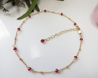 Ruby Anklet, Longido Ruby Anklet, July Birthstone, Red Gemstone Anklet Gold Filled, 8.75-10.25 Inches Length, Wire Wrap Ruby Anklet